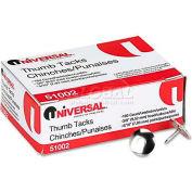 "Universal® Thumb Tacks, Steel, Silver, 5/16"", 100/Pack"