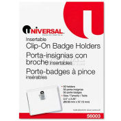Universal® Clip-On Clear Badge Holders W/Inserts, Top Load, 2 1/4 x 3 1/2, White, 50/Box