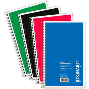 Universal® Wirebound Notebook, 6 x 9-1/2, College Ruled, 150 Sheets, Assorted Color Cover