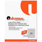 Universal® Laser Printer Permanent Labels, 1/2 x 1-3/4, White, 8000 Labels