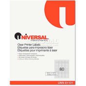 Universal One® Laser Printer Permanent Labels, 1/2 x 1-3/4, Clear, 2000 Labels