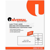 Universal One® Laser Printer Permanent Labels, 2 x 4, Clear, 500 Labels