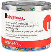 Universal® One Paper Clips, Vinyl Coated Wire, Jumbo, Assorted Colors, 250/Pack