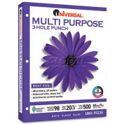 Punched Multipurpose Paper - Universal UNV95230 - White - 8-1/2 x 11 - 20 lb. - 5000 Sheets/Carton