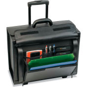 """SOLO® Classic Leather Rolling Catalog Case,16"""", 18 x 8 3/14 x 14, Black"""