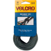 VELCRO® Brand Reusable Self-Gripping Ties, 1/2 x Eight Inches, Black/Gray, 50 Ties/Pack