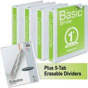 "Wilson Jones® Basic Round Ring View Binders w/5-Tab Divider Set, 1"" Capacity, White, 4/Carton"