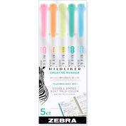 Zebra® Mildliner Double Ended Highlighter, Chisel/Bullet Tip, Assorted Colors, 5/Pack