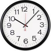 """Universal® Indoor/Outdoor Round Wall Clock, 13.5"""" Overall Diameter, Black Case, 1 AA"""