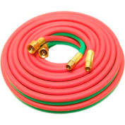 """25' Oxyacetylene Twin Hose - 3/8"""" (A) and 9/16"""" (B) Connections"""