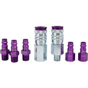 Milton S-307VKIT, ColorFit Purple Coupler and Plug Kit, Hi Flow V Style, 7 Pieces