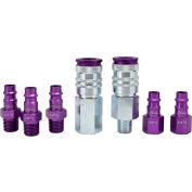 Milton S-307VKIT, ColorFit Purple Coupler and Plug Kit, Hi Flow V Style, 7 Pieces