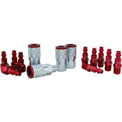 Milton S-314MKIT, ColorFit Red Coupler and Plug Kit, Industrial M Style, 14 Pieces