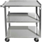 """Update International BC-2415SS - Bus Cart, 27-1/2""""L x 16-1/4""""W x 32-1/8""""H, Stainless Steel"""