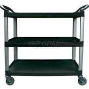 Update International BC-3520BZ - Bus Cart, 3 Tier, Black, 300 Lb. Capacity