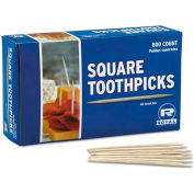 Royal RPPR820SQ, Square Wood Toothpicks, Natural, Plain, 19,200/Carton