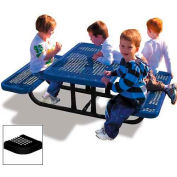 4' Rectangular Child's Picnic Table, Perforated Metal, Black