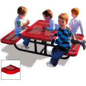 4' Rectangular Child's Picnic Table, Perforated Metal, Red