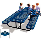 8' Rectangular Child's Picnic Table, Perforated Metal, Blue
