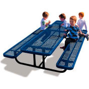 8' Rectangular Child's Picnic Table, Expanded Metal, Blue