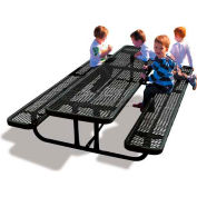 8' Rectangular Child's Picnic Table, Expanded Metal, Black