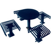 """UltraPlay 36"""" Round Solid Top Table, Surface Mount, 4 Slat Seats - Ultra Blue"""