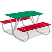 3' Preschool Multi-Color Polyethylene Table with Galvanized Frame