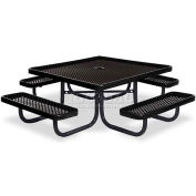 "46"" Square Child's Picnic Table, Portable, Perforated Metal, Black"