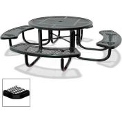 "46"" Round Child's Picnic Table, Portable, Expanded Metal, Black"