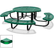 "46"" Round Child's Picnic Table, Portable, Expanded Metal, Green"
