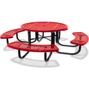 "46"" Round Child's Picnic Table, Portable, Expanded Metal, Red"
