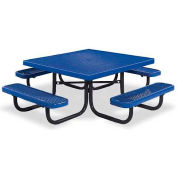 "46"" Square Child's Picnic Table, Portable, Expanded Metal, Blue"