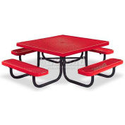 "46"" Square Child's Picnic Table, Portable, Expanded Metal, Red"