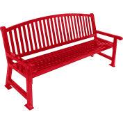 "UltraSite 48"" Savannah Steel Slat Bench w/ Curved Back, Red"