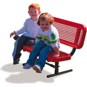 3' Preschool Bench with Back - Perforated, Red