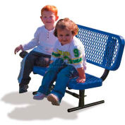 3' Preschool Bench with Back - Expanded Metal, Blue