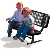 3' Preschool Bench with Back - Expanded Metal, Black