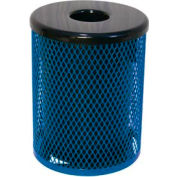 32 Gallon Thermoplastic Coated Diamond Pattern Trash Receptacle - Blue