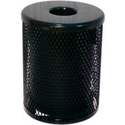 32 Gallon Thermoplastic Coated Diamond Pattern Trash Receptacle - Black