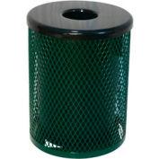 32 Gallon Thermoplastic Coated Diamond Pattern Trash Receptacle - Green