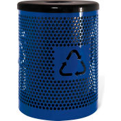 UltraPlay 32 Gallon Recycling Logo Trash Receptacle Expanded, UltraBlue - EX-32RE-UBL