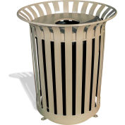 UltraPlay 36 Gal Burgundy Lexington Receptacle w/Flat Lid & Liner, Cans Decal - LX-36FT-BGY-C