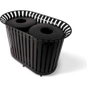 UltraPlay (2) 36 Gal. Burgundy LX Receptacle w/Flat Lid & Liner, Trash/Cans Decal - LX-72FT-BGY-T/C