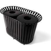 UltraPlay (2) 36 Gal. Black LX Receptacle w/Flat Lid & Liner, Trash/Plastics Decal - LX-72FT-BLK-T/P