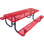 "6' Picnic Table, 2-3/8"" Frame, Perforated, Red"