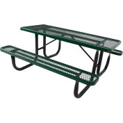 6' Steel Picnic Table, Diamond Pattern, Green