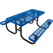 8' Steel Picnic Table, Diamond Pattern, Blue