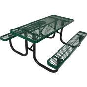 8' Steel Picnic Table, Diamond Pattern, Green