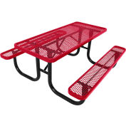 8' Steel Picnic Table, Diamond Pattern, Red