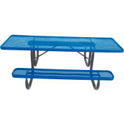 """8' ADA Picnic Table, Steel, Double-Sided, 2-3/8"""" Frame, Perforated, Blue"""